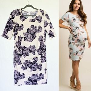 PINKBLUSH women's blue rose floral maternity dress